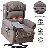 Mecor Lift Chair Recliner for Elderly,Power Lift Recliner w/Table&Light,Fabric Massage Recliner Chair with Heat/Side Pockets/USB Charge Port for Living Room (Brown)