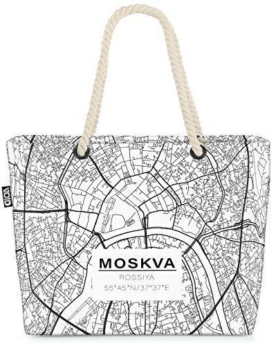 VOID Mapa de Moscú Bolsa de Playa 58x38x16cm 23L Shopper Bolsa de Viaje Compras Beach Bag Bolso