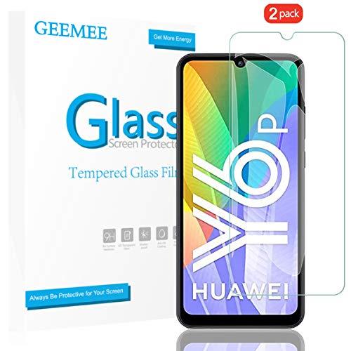 GEEMEE für Huawei Y6P/Huawei Honor 9A Panzerglas Schutzfolie, 2 Pack 9H Filmhärte Gehärtetem Schutzglas Hohe Empfindlichkeit Panzerglas Displayschutzfolie (Transparent)