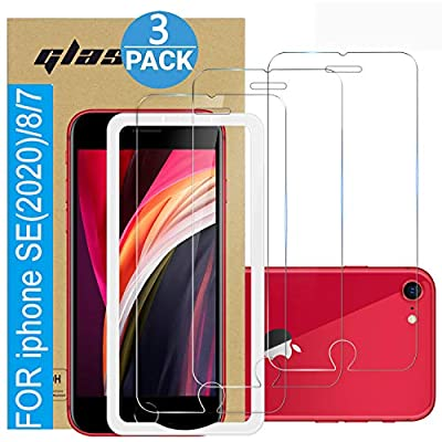 ?3 Pack ? Amuoc Tempered Glass Film for Apple iPhone SE 2020 Screen Protector and iPhone 8/7 Screen Protector? with (Easy Installation Tray) Anti Scratch, Bubble Fre from Amuoc
