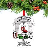 FKOG 2021 Metal Our First Christmas in Our New Home Ornaments Housewarming Gift Homeowner Present Xmas Tree Decoration Ornament Romantic for Couples (Silver New Home)