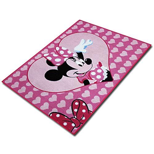 TW24 Disney Kinderteppich mit Motivauswahl 133x95cm Spielteppich Teppich Kinderzimmer (Minnie Hello)