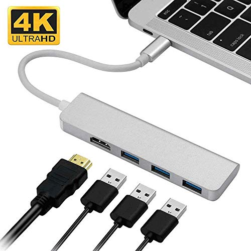 YGB USB-C HUB Type-C Adapter To HDMI,3 USB 3.0, Portable Aluminum USB C Dongle For MacBook Pro 2018/2017/2016 Chromebook Pixel, DELL XPS13 for iMac Pro,Notebook PC and Other Type C Devices
