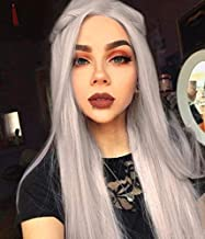 IMSTYLE Silver Lace Front Wig Grey Synthetic Natural Straight Hair Replacement Wigs for Women Glueless Cap Heat Resistant Hair 24 Inches Realistic Hairline Ashy Long Wig