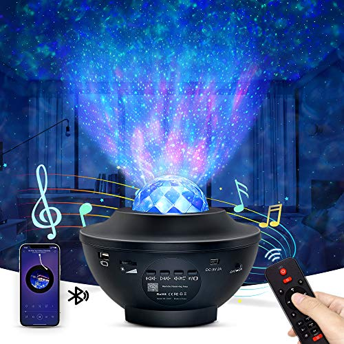 Night Light Projector, OTTOLIVES Star Projector Galaxy Projector & LED Nebula Cloud/Rotatable Ocean Wave Projector with Bluetooth Music Speaker for Baby Kids Adults Bedroom/Birthday/Party