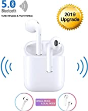 Bluetooth 5.0 Wireless Earbuds Noise Canceling Sports 3D Stereo Headphones with【24Hr Playtime】 IPX6 Waterproof, Pop-ups Auto Pairing, Built-in Binaural Mic Headset for Android/iPhone Apple Airpods