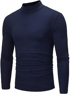 FNKDOR Men's Turtleneck T-Shirt Pure Color Long Sleeve T-Shirt Top Blouse for Autumn Winter