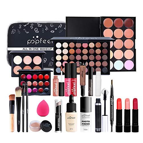 FantasyDay 25St Multifunktions Exquisite Kosmetik Geschenkset Make-up Schmink Kit für Gesicht, Augen und Lippen - Weihnachten Makeup Set mit Abdeckcreme Lidschatten Lippenstift Lipgloss Schminktasche