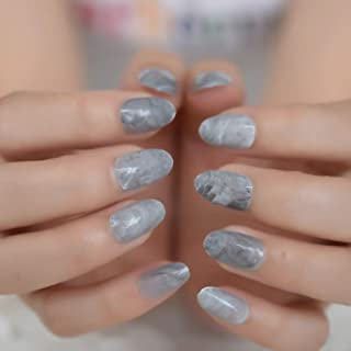 MISUD Oval Fake Nails Gray Marble Texture Glossy Full Cover Nails Sexy Fashion Artificial Press on False Nails Art Tips