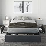 Hoomic Upholstered Queen Platform Bed Frame with 3 Storage Drawers, No Fixed Headboard Design, Mattress Foundation with Wooden Slats, No Box Spring Needed, Noise Free, Dark Grey