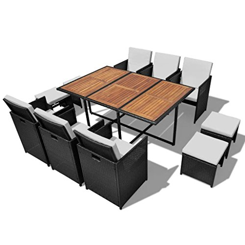 UnfadeMemory Garten-Essgruppe Gartengruppe Poly Rattan Gartengarnitur Loungemöbel Akazienholz-Tischplatte Polyrattan Gartenmöbel Garten-Set Schwarz (11-TLG. Set)