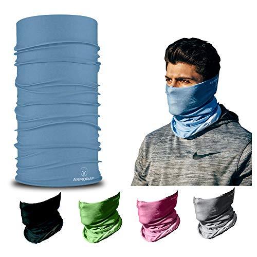 ARMORAY Headwear Head Wrap Neck Gaiter Headband Fishing Mask Magic Scarf, Tube Mask Face Bandana Mask Neck Balaclava and Sport Scarf 12 in 1 Headband Sweatband for Fishing Hiking Running (Blue)