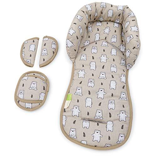 PRIEBES EMIL Sitzverkleinerer mit Gurtpolster | Universal-Set mit Kopfschutz & Sitzverkleinerer & Gurtpolster für jede Babyschale | atmungsaktiv| Schonbezug 100% Baumwolle