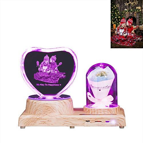 Luz De Noche De Cristal Con Foto Grabada Con Nombre Álbum De Marco De Lámpara De Cristal De Música Bluetooth Personalizado Con Rosa Ideas De Aniversario De Cumpleaños De Navidad(Corazón2 - Rosa azul)