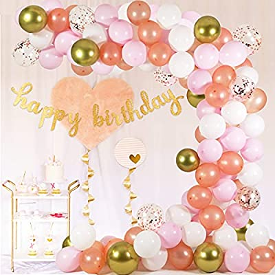 Amazon - 65% Off on Rose Gold Balloon Garland Arch Kit – 124 Pieces/PCS Rose Gold Pink White