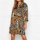NOBRAND Vestido De Leopardo para Mujer Mini Vestido De Fiesta De Verano Ocio Turn Down Collar Vestido De Camisa De Oficina Señoras Vestidos De Vendaje XL Amarillo