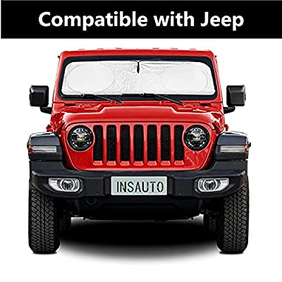 INSAUTO Windshield Sun Shade Compatible with Jeep Cherokee Compass Grand Cherokee?Sunshades for Windshield Cover 210T Reflector Front Window Sun Visor Cool Car Accessories-Medium (63