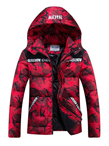 CHARTOU Men's Winter Hooded Camouflage Quilted Puffer Coat Padded Jacket Parkas Outwear (Small, Red)