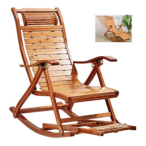 Sedie da patio Sedia da spiaggia pieghevole in bambù naturale Lettino da sole reclinabile Sedia a dondolo da esterno con bracciolo Cuscino per massaggio ai piedi, Lettino relax da giardino all'apert
