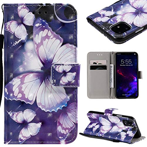 MOLIBAIHUO For IPhone 11 Case, 3D Painted Pattern Horizontal Flip Leather Case for IPhone 11, With Wallet & Holder & Card Slots & Lanyard PHONE CASE (Pattern : Purple butterfly)