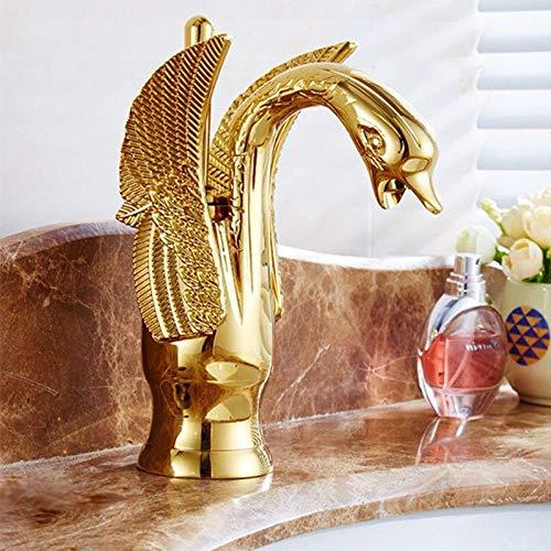 Waterkraan Wastafelkranen Messing Antiek/Goud Mode Delicatesse Swan Design Kraan Wastafel Enkel gat Koud Warme gootsteen Mengkranen - met slangmaat 3-8_goud