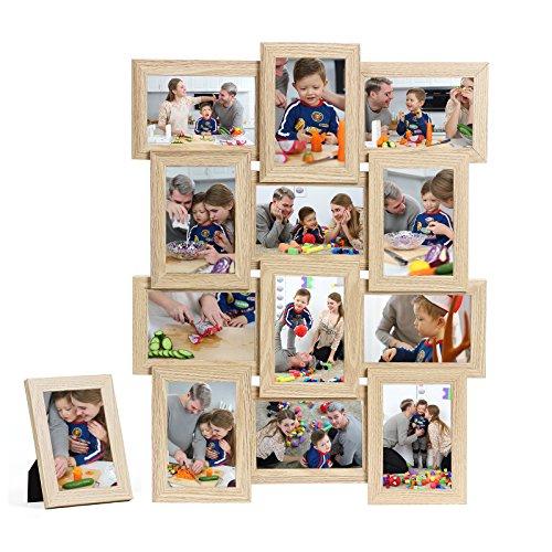 SONGMICS Cadre Photo Pêle-mêle, Mural Capacité de 12 Photos de 10 x 15 cm +1 Cadre Photo sur Table Offert MDF, Nécessite Assemblage, Naturel RPF112Y
