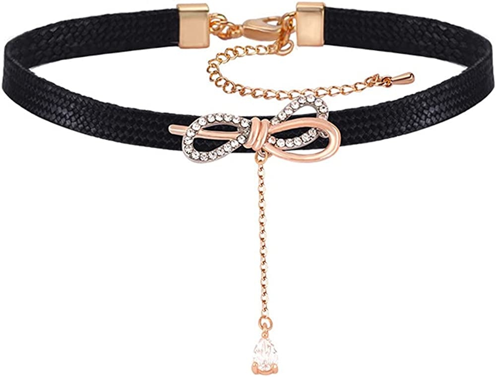 Punk Rock PU Leather Choker Collar Necklace Rose Gold Collar Necklace for Women Girls Gifts