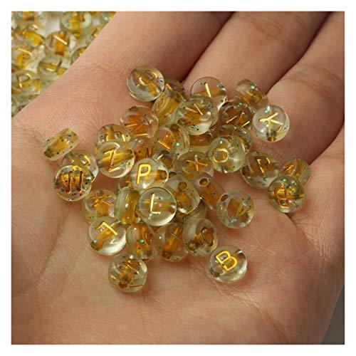Shop-PEJ DIY accesorios 4x7mm cielo estrellado letra acrílico cuentas redondas alfabeto plano suelta cuentas espaciador para hacer joyas hecho a mano DIY pulsera collar para hacer joyas