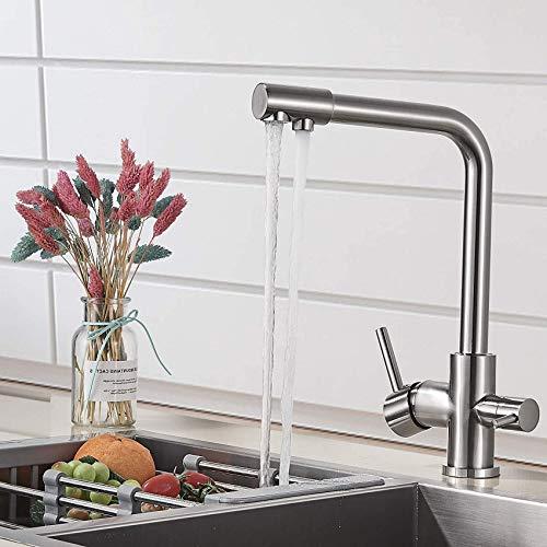 L.BAN Grifo de Cocina de Agua Potable de 3 vías con Filtro Grifos mezcladores de Cocina Agua fría y Caliente 360 ° Caño Giratorio Níquel Cepillado