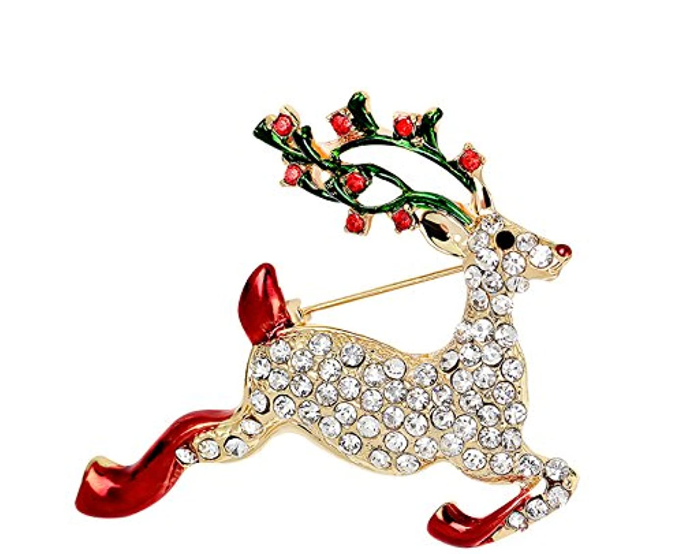 二十前兆ようこそEcloud Shop クリスマス?デイリー?ウェアにふさわしいヨーロッパのスタイル?ラインストーン鹿ブローチ結晶ピン