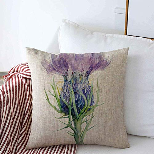 jonycm Cushion Cover Watercolor Purple Scottish Milk Thistle Flower Medicinal Painting Nature Liver Scotland Drawing Ink Garden Health Decor Cushion Case 45X45Cm Throw Pillow Covers Cove