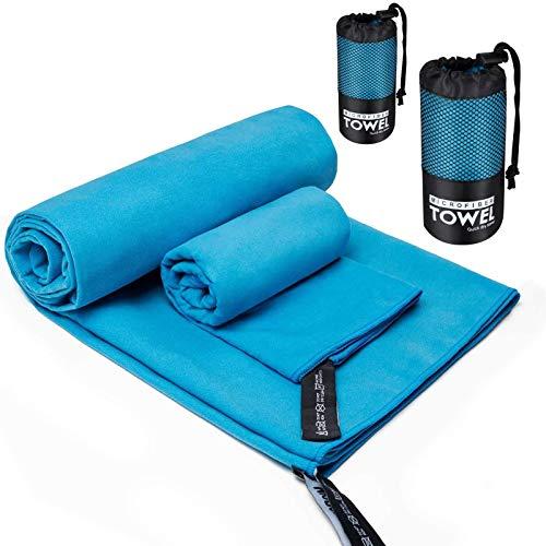 PGFUNNY 2 Größen Mikrofaser Handtuch Set Reisehandtücher Ultra Saugfähig und Leichte Microfaser Handtücher mit Kordelzugtasche für Sport Fitness Camping Schwimmen Wandern Yoga Pilates