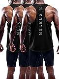 Neleus Men's 3 Pack Dry Fit Athletic Muscle Tank Workout Gym Shirt,5031,Black,M