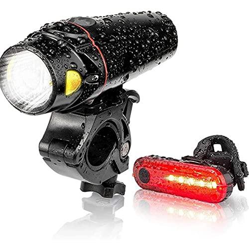 StrCous Fahradbeleuchtungsset LED, mit eine intelligente Helligkeitsanpassungsfunktion IPX5 Wasserdicht Fahrradbeleuchtung, 3 Leuchtmodi USB Fahrrad Licht, Frontlicht ,Rücklicht und Fahrradklingel