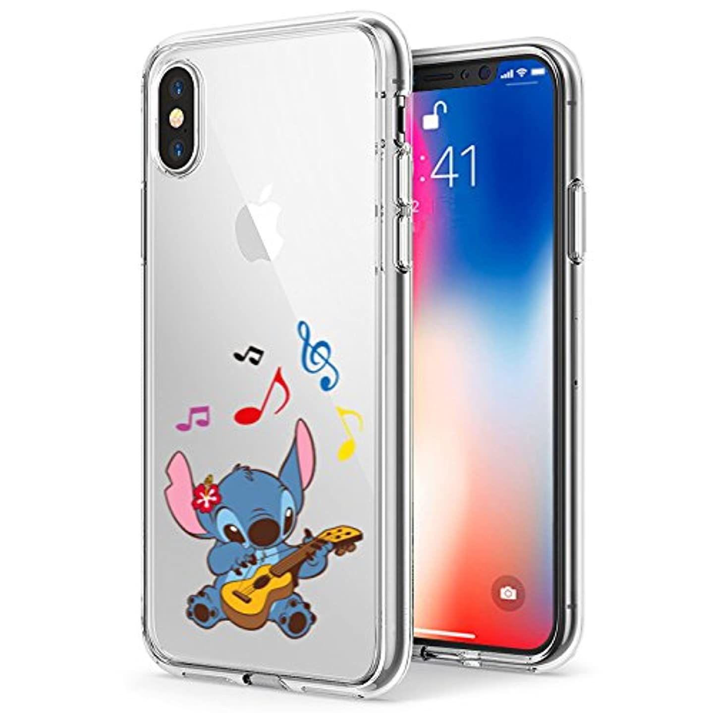 iPhone Xs MAX Case, Stitch Playing Guitar 3D Printed Soft Clear Cute Case