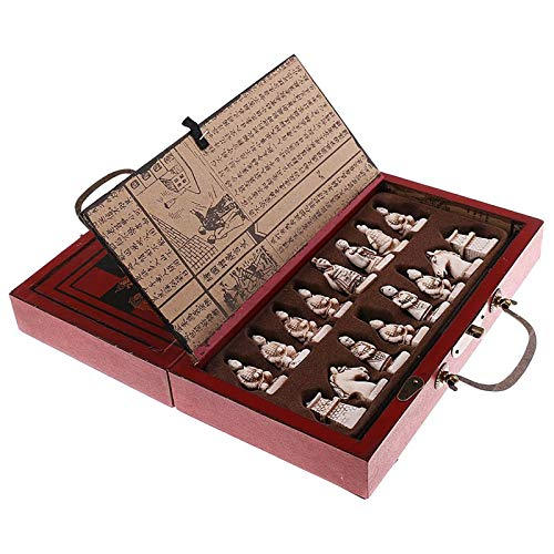 XHH Vintage Chinese Terracotta Warriors 32 Chess Set Wood Table Chess Games Gift Chess Intelligence, Exchange Game Party