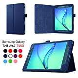 Asng Samsung Galaxy Tab A 9.7 Folio Case - Slim Fit Premium Vegan Leather Cover for Samsung Tab A 9.7-Inch Tablet SM-T550, SM-P550 (with Auto Sleep/Wake Feature) (Drak Blue)