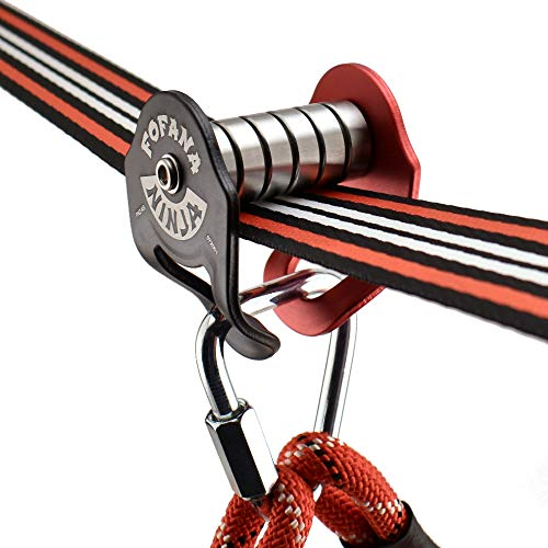 Fofana Ninja Slider Slackline Pulley - Zip Along Your Ninja Course with The Most Fun New Accessory for Your Ninja Warrior Obstacle Course for Kids