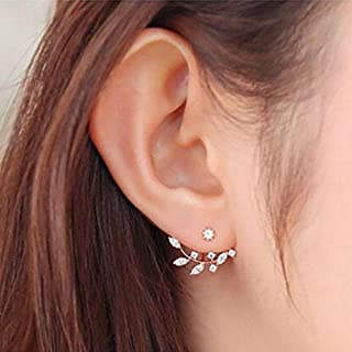 1Pair Women Fashion Leaf Crystal Ear Stud Earrings Earring Jewelry Gift RG