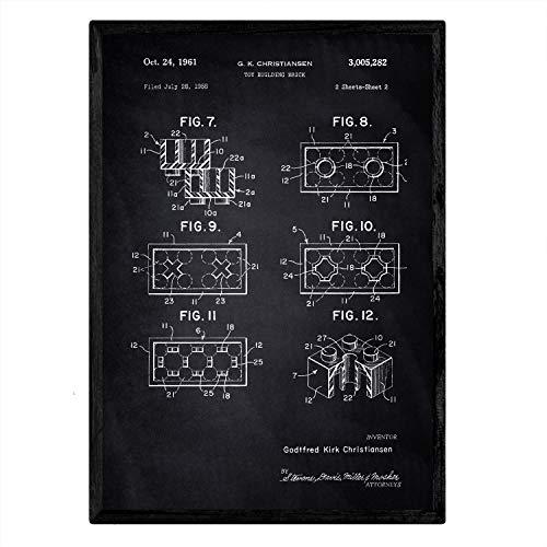 Nacnic Lego Bausteine Patent Poster. Vintage Stil Wanddekoration Abbildung von Spielzeuge und Kinder Puppen. Verschiedene geometrische Alte Erfindungen Bilder ohne Rahmen. Größe A3.