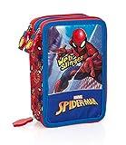 Estuche escolar completo 3 cremalleras Spiderman Marvel Hombre araña rojo azul para niños