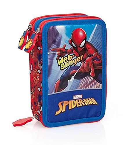 Astuccio scuola completo 3 zip Spiderman Marvel Uomo Ragno rosso blu per bambini