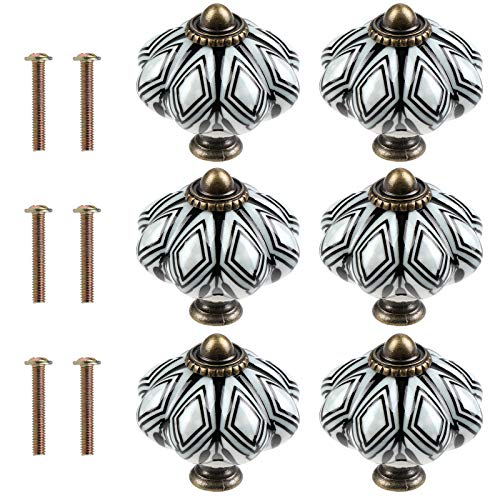 TsunNee 6 pomos de cerámica para gabinete, pomos para cajones elegantes, tiradores...