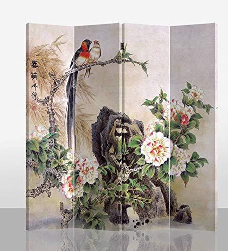 Fine Asianliving Oriental Room Divider 4 Panel Birds and Mudan Peonies...