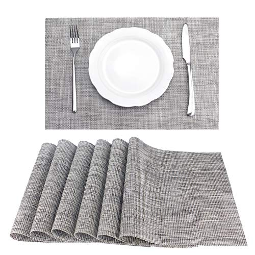 WUJO Placemats for Dining Table, Woven PVC Place Mats Set of 6, Non Slip Washable Table Mats with Heat Resistant for Kitchen Restaurant 45X30CM Linen gray