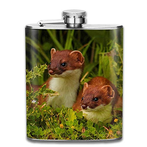 Beautiful Ferrets Fashion Portable Stainless Steel Hip Flask Whiskey Bottle for Men and Women 7 Oz