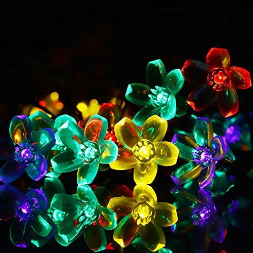 Lichtketting, decoratief, werkt op batterijen, voor slaapkamer, binnen, buiten, lichtketting, op zonne-energie, 50 lijnen, lichtketting, violet