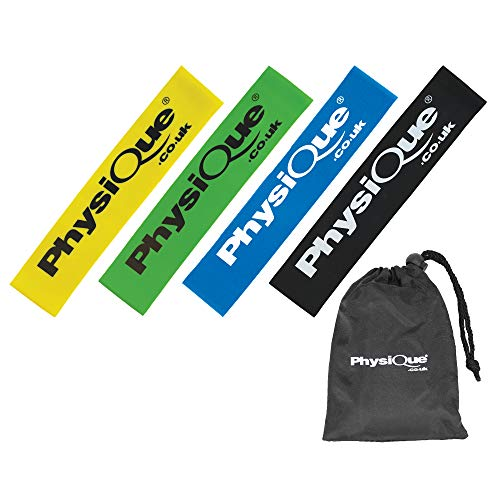 PHYSIQUE Mini Bands Skin Friendly Sports Resistance Bands Set of 4 Elastic Loops With 4 Resistance Levels Free Carrying Case Included Ideal for Home Fitness Strength Exercise Gym Yoga