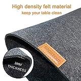 Sportout Platzsets aus Filz 6er Set Anti-Rutsch Tischset, anthrazitfarbene Platzdeckchen abwischbare Filzmatte aus 30 x 45 cm, grau/Schwarze Matte (Untersetzer,Schüsselmatte enthalten) - 3