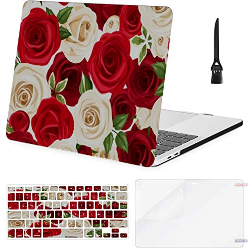MacBook Pro 13 Inch Case Seamless Pattern Red White Roses Vector MacBook Air 13 Inch Case with Keyboard Cover Screen Protector Cleaning Brush